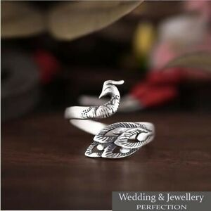100% 925 Sterling Silver Peacock Ring Band Open Finger Fully Adjustable Jewelry