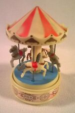 Vintage Yaps Wind Up 4 Horse Carousel Plastic Music Box Plays a Carousel Waltz
