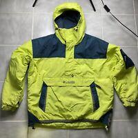 Vintage Columbia Anorak Pullover Puffer Jacket Neon Green Ski Snowboard Men's XL