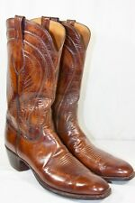 MENS SAN ANTONIO #2083 LUCCHESE 13A COGNAC GOAT LEATHER CLASSIC SQUARE TOE BOOTS