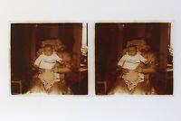 Familia Francia Foto Estéreo Aficionado P50L5n22 Placa De Cristal Vintage c1910