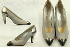 Vtg CHARLES JOURDAN Paris France Leather Metallic Gray RETRO Heels Pumps Shoes 8