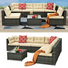 YITAHOME 7PCS Outdoor Patio Rattan Wicker Sofa Garden Furniture Sectional Set