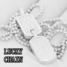 925 STERLING SILVER ICED OUT BABY DOG TAG PENDANT 24''MOON CUT CHAIN 17g R325