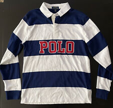Ralph Lauren Rugby Style Long Sleeve Embroidered Blue White Polo Sz Boys XL