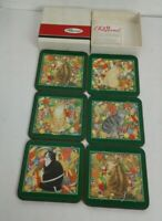 Rare Set 6 Cat Vintage PIMPERNEL 12 Days Of Christmas Coasters in BOX England