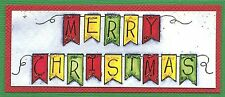 MERRY CHRISTMAS Pennant Wood Mounted Rubber Stamp NORTHWOODS D9918 New