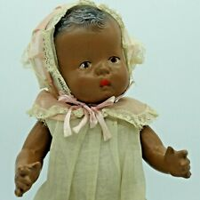 Antique Vintage  Black Composition Character Doll Baby Original Bonnet Dress