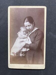 Victorian Carte De Visite CDV: Loving Affectionate Mother Baby: Price Derby