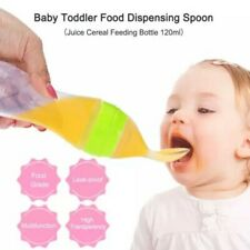Baby Bottle Silicone Squeeze Feeding Bottle With Spoon Food Cereal Feeder 120 ML