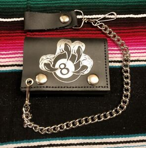 Leather Tri-Fold Chain Wallet Silver Claw with 8 Ball Punk Rock Psychobilly Cool