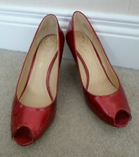 "FAB Clarks Red Metallic Shimmer Patent Peeptoe 3"" High Wedge Heels UK 5D VGC"
