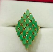14k Solid Yellow Gold Emerald Cluster Diamond Ring 3.10GM 4.5CT Size 7.
