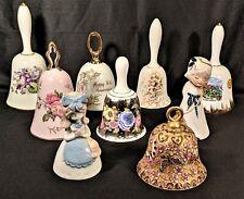 Lot of (9) Decorative Vintage Porcelain Dinner Bells: Wedgwood - L&M - Lefton