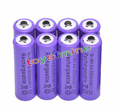 8pcs AA 2A 3000mAh Ni-MH Recharge Rechargeable Battery