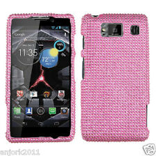 Motorola Droid Razr HD XT926 Snap-On Hard Cover Diamond Case Solid Pink