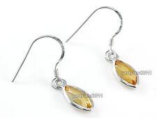 2 Carat Naturel Citrine Jaune 925 Sterling Silver Boucles D'oreilles Pendantes