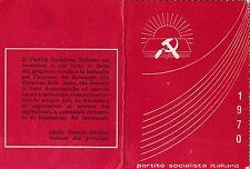 TESSERA 1970 P.S.I. PARTITO SOCIALISTA ITALIANO  SAVONA ERLI 8-30