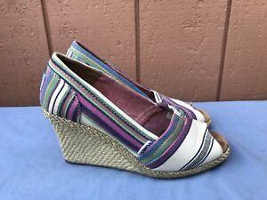 EUC TOMS Women's US 7 Striped Peep Toe Canvas Espadrille peep toe Heel Wedges A7