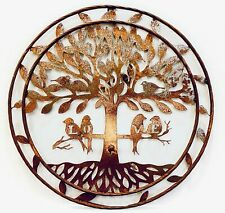 """Rustic Style Metal Circle Tree of Life with Birds 24"""" Rustic Wall Decor Art Plaq"""