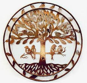 "Rustic Style Metal Circle Tree of Life with Birds 24"" Rustic Wall Decor Art Plaq"