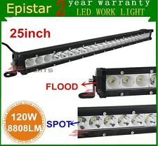 25inch 120W Single Row Spot Flood Combo LED Light Bar Offroad Outdoor Truck SUV