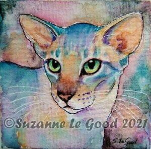 Oriental cat art painting canvas original watercolour easel by Suzanne Le Good