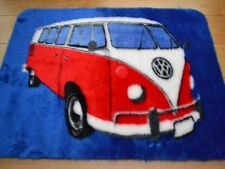 Red White Blue VW Camper Van Warm Fun Rug Fluffy Furry Bedroom Floor Mat Cheap