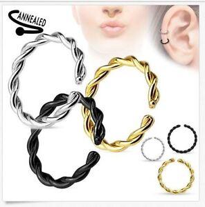 20g 18g 16g 14g Braided Twist Bendable Seamless Anneal Hoop Ring Nose Lip Septum