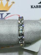 Platinum Sterling Silver Asscher Cut White Sapphire Eternity Band 4mm Ring Sz 7