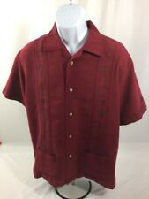 Cubavera Men's Shirt Size M Rayon Blend Embroidered