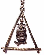 BRONZE OWL TRIANGLE OF BRANCHES PENDANT chunky horcrux bird crystals necklace R6