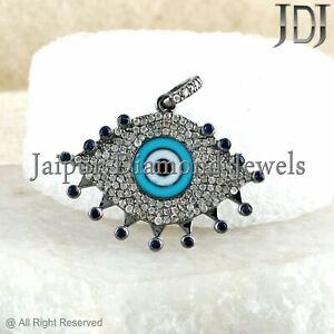 Sterling Silver Enamel Sapphire Gemstone EVIL EYE Pendant Pave Diamond Jewelry