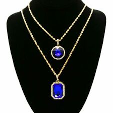Pendant 3mm Rope Chain 4pcs Bundle 14k Gold Plated Blue Octagon+Round Stone