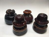 Lot of 4  Vintage Glazed Ceramic Brown Clay Electrical Insulators #4