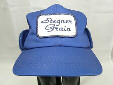 K Products Stegner Grain Winter Hat Blue Fleece Ear Flap Agriculture Made in USA