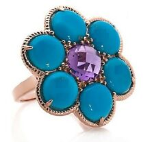 HERITAGE GEMS ROSE VERMEIL TURQUOISE AND  AMETHYST FLOWER RING SIZE 6