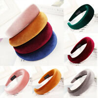 Women's Velvet Headband Padded Hairband Wide Strip Hair Hoop Headwrap Head Band