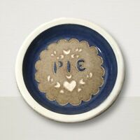 Blue Salt Glazed Pie Plate Pan Dish 10 in Stoneware Signed Crystal Creek Pottery