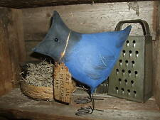 Primitive Fat Lil StellersJay Bird for Spring Rustic Folk Art FreeStanding Ornie