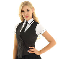 #S-4XL Vintage Women Party Work Dress Suit Vest Tops Waistcoat Formal Casual New