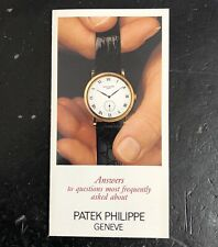 "to Questions"" Chronograph 3970 Calatrava Patek Philippe Brochure 1989 ""Answers"