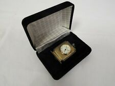 Miniature Clock Brass Coloured In Presentation Box
