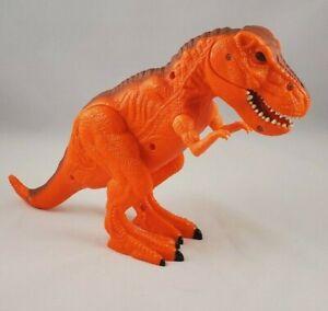 "T-REX, Orange Dinosaur Dragon-I 7.5"" tall Eyes Light-up Roar Chomp Growls Works!"