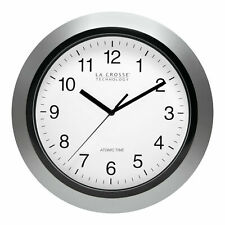 "La Crosse WT-3129S 12"" Atomic Analog Wall Clock, Silver - Sets Automatically!"