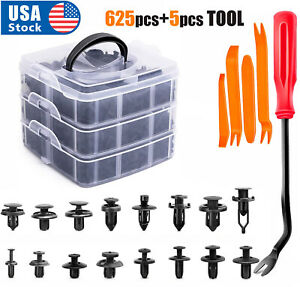 630PCs Car Retainer Clips Auto Fasteners Push Trim Clips Pin Rivet Bumper Kit