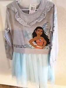 NEW Disney Moana Gymboree Dress Long Sleeve Blue Grey Size 6 $38