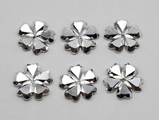 200 Silver Flatback Acrylic Glitter Faceted Flower Cabochons 12mm No Hole
