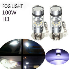 2X H3 Car LED Fog Light Bulb 100W Projector Car Driving DRL 6000K White For BMW