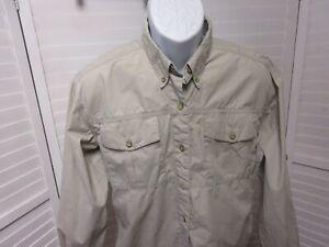 Cabelas Vented Fishing Long Sleeve Button Front Shirt Khaki womens Medium